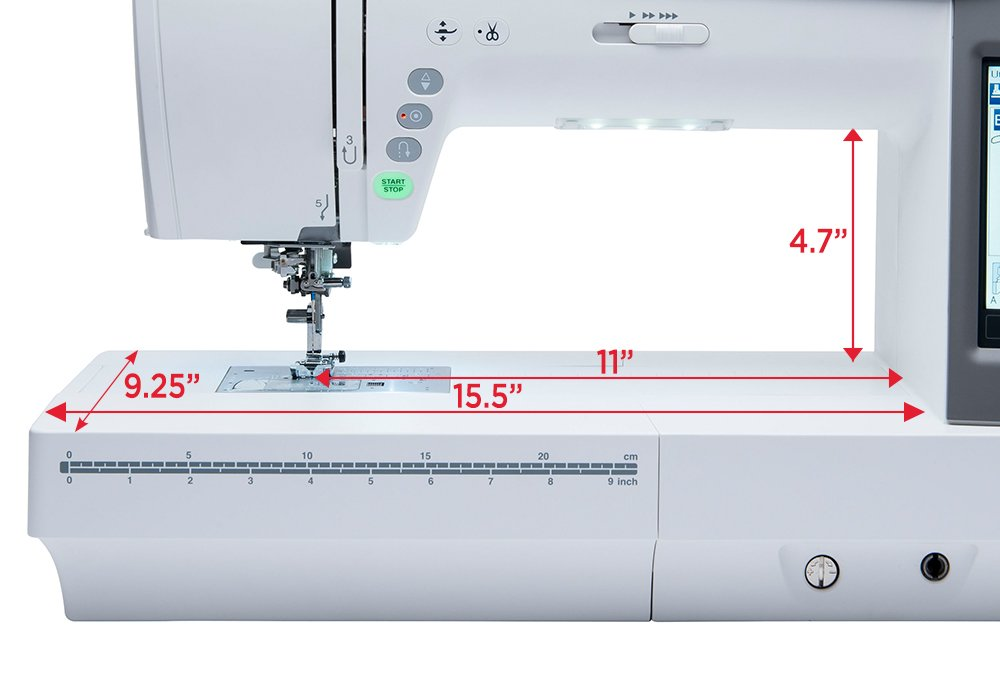Spacious sewing machine for quilts and bag
