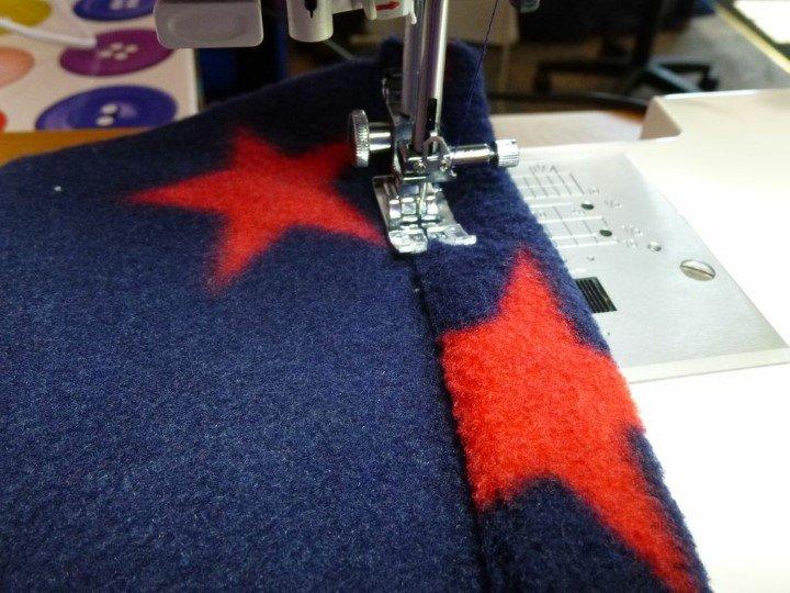 Hemming fleece fabric