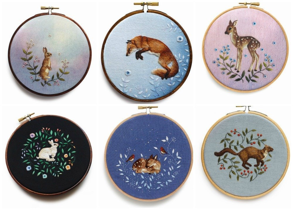 Woodland animal embroidereis by Chloe Giordano