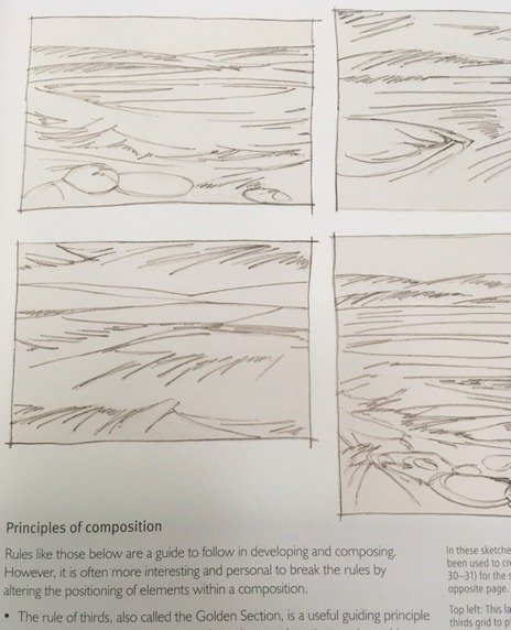 Composition of stitched seascapes and landscapes