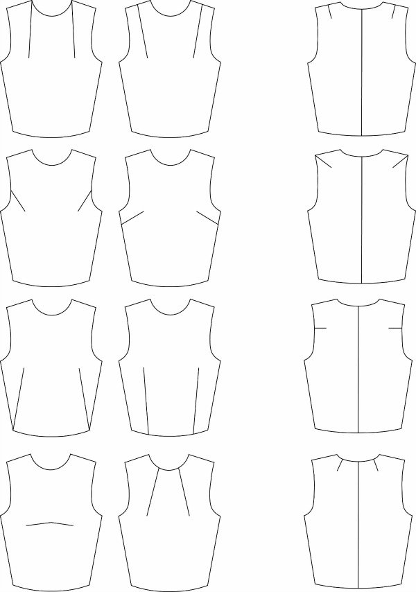 Dart positions on garments