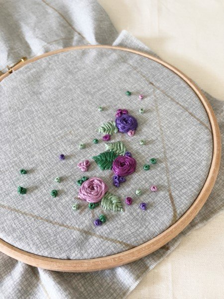 Embroidering flowers