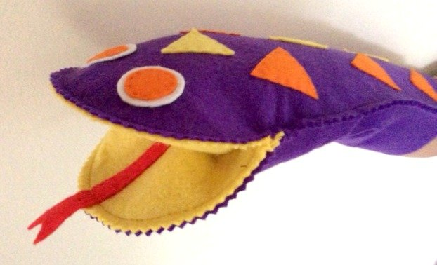 how to sew a snake glove puppet