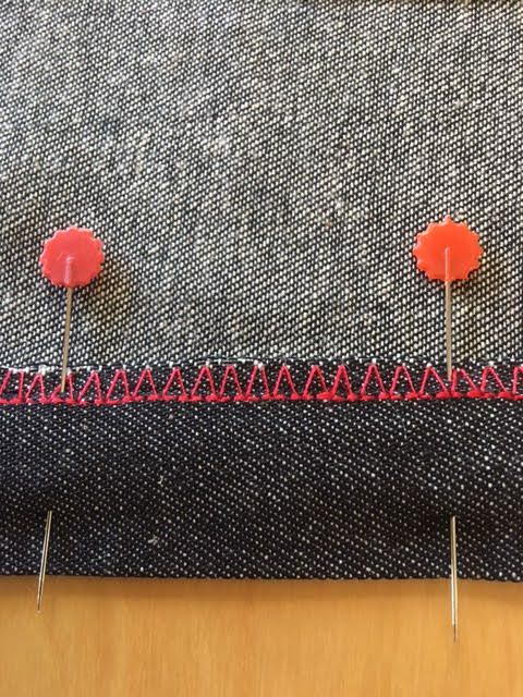 Pin a hem in place