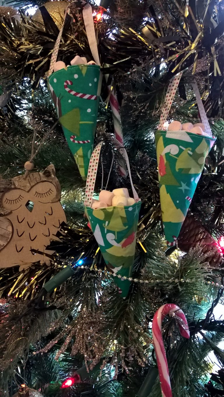 Candy cones Christmas decorations sewing tutorial