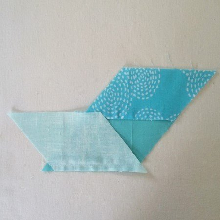 Sewing chevron patchwork pieces