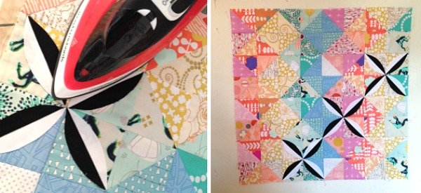 Scrap mini quilt with applique - free pattern from Penny Dog