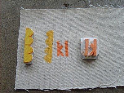 Block printing labels