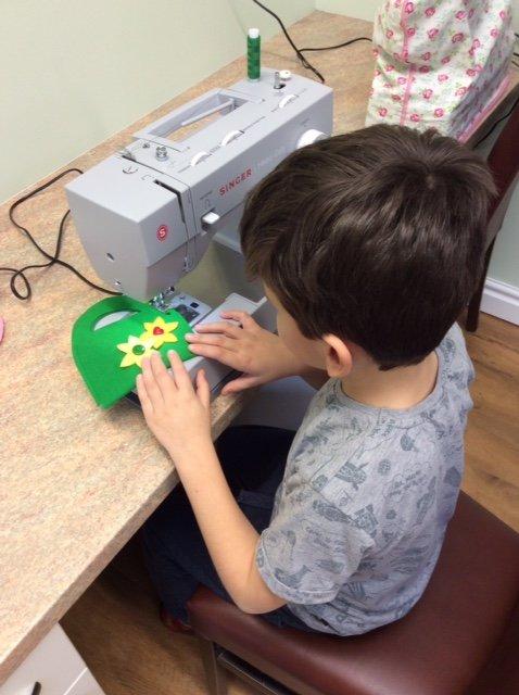 Machine sewing with children