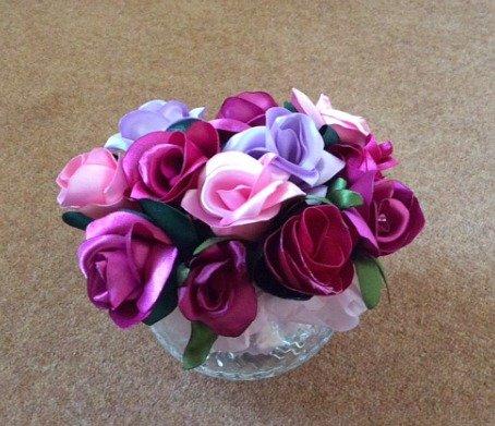 Sculptured ribbon roses