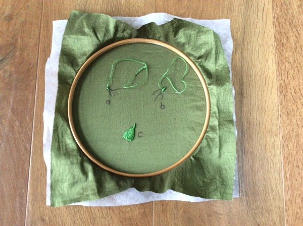Stitching leaves with ribbon