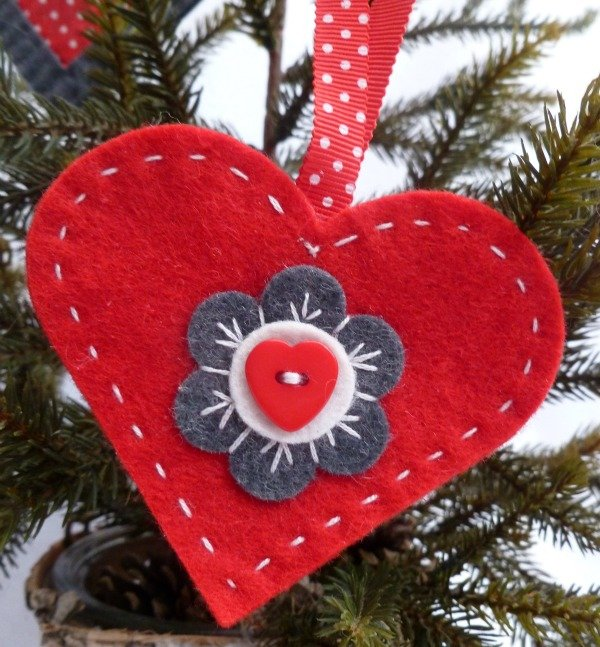 Hand stitched felt decorations