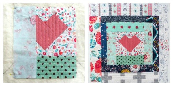 Heart log cabin pillow project