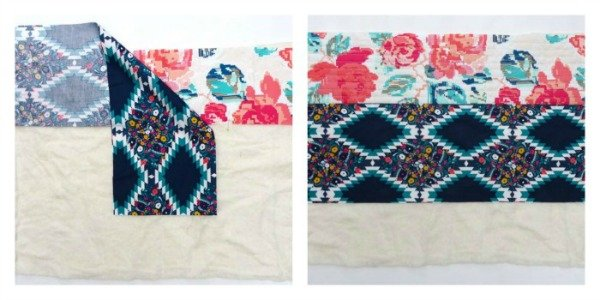 Quilt as you go log cabin cushion