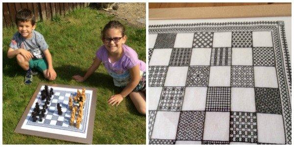 Chessboard embroidered in blackwork