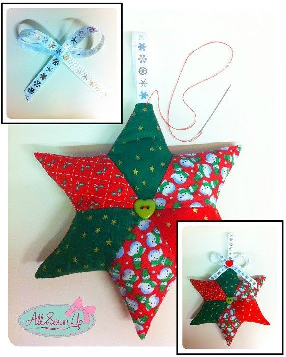 how to sew a hanging Christmas star decoation