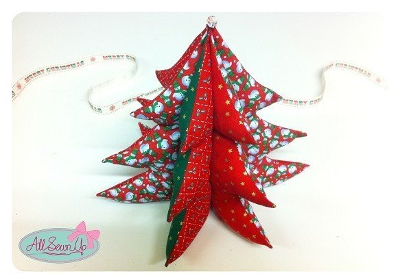 Sew a table top fabric Christmas tree