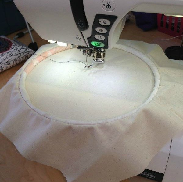 Use a hoop for free motion stitching