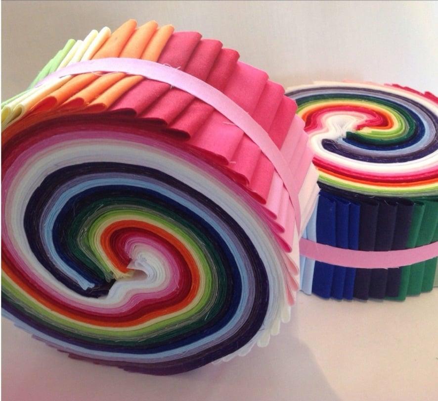 Pretty jelly rolls of solid fabrics