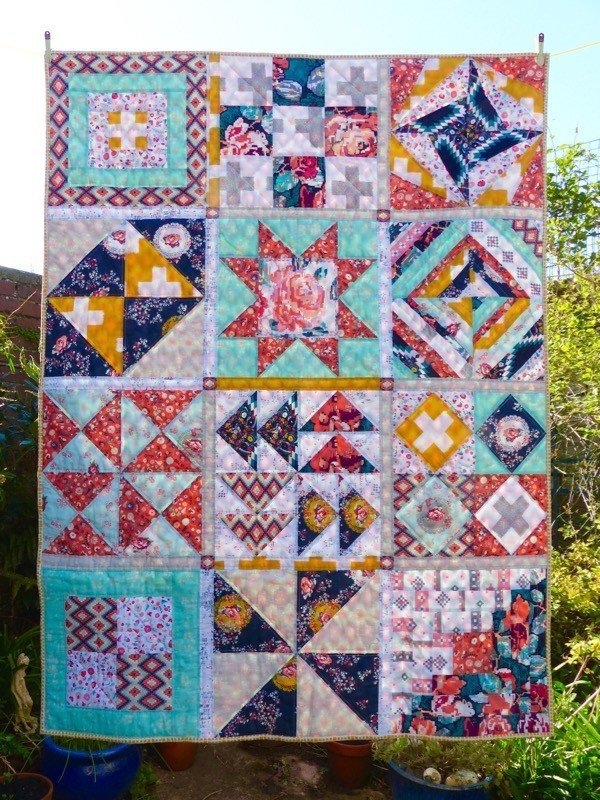 Easy sampler quilt pattern free for beginner quilters