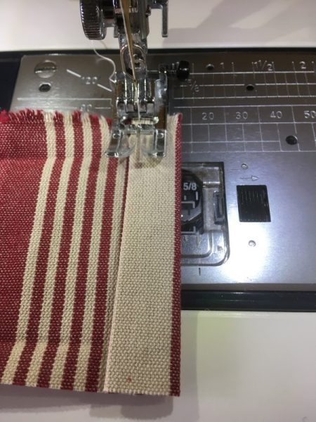 Sewing a channel for cord
