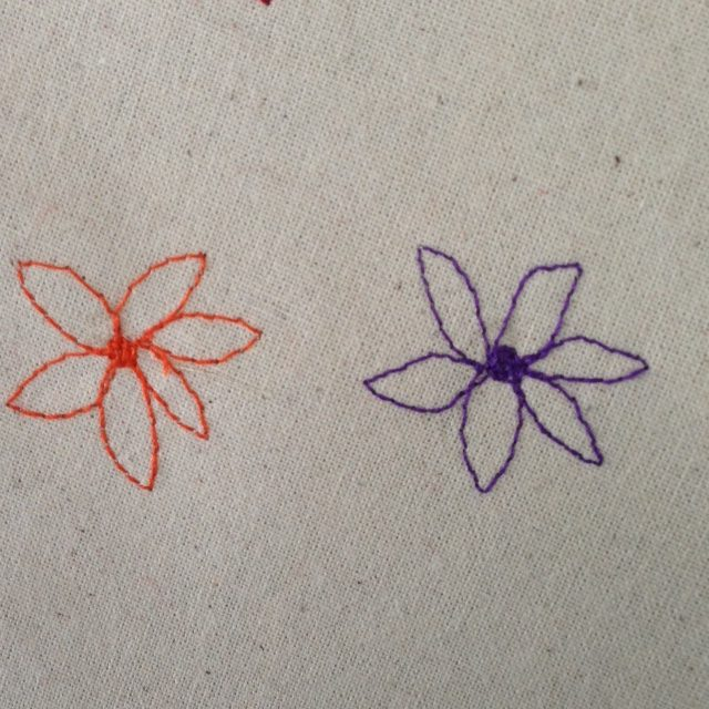 Free machine embroidered flowers
