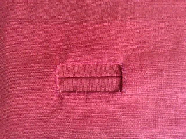 Completed bound buttonhole