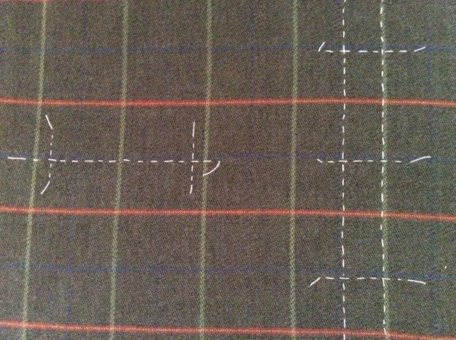 Tailors tacks to mark placement