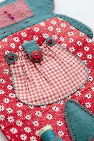 Cottage sewing case inside