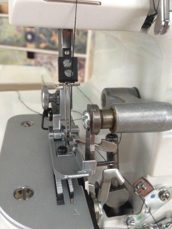 Threading an overlocker needle