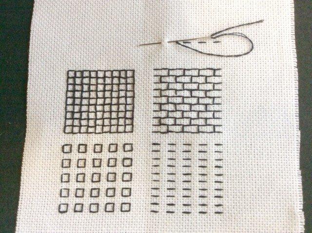 Running stitch in counted thread work