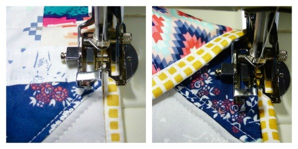Machine sewn quilt binding