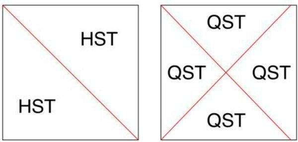 Half square and quarter square triangles