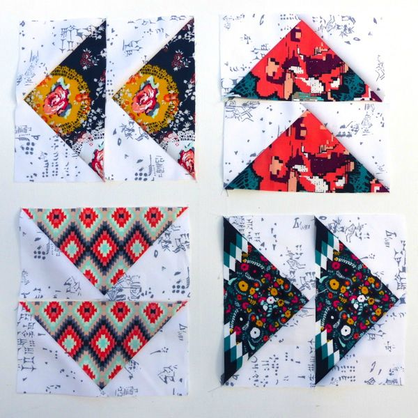 Quilt blocks using triangles