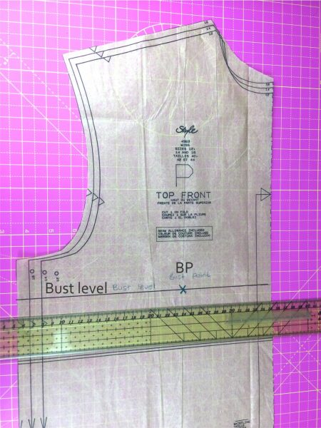How to find the bust level on a dressmaking pattern
