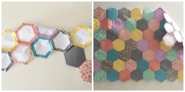 Removing paper templates from hexagons
