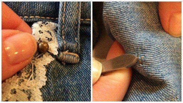 Using studs to transform a denim skirt