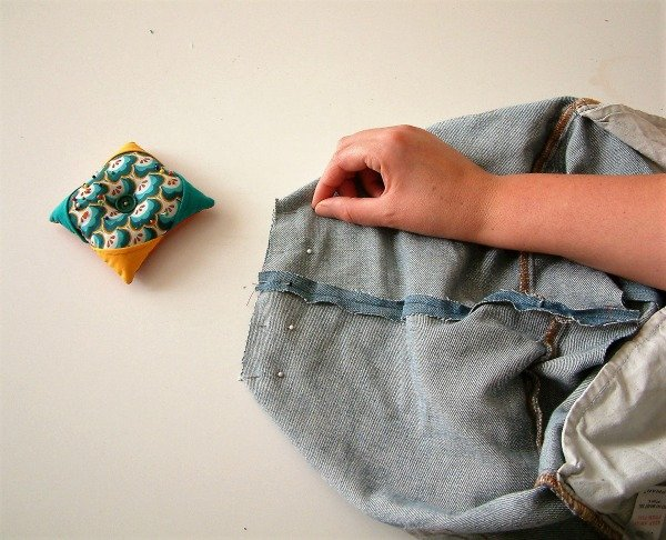 Handmade jeans bag project