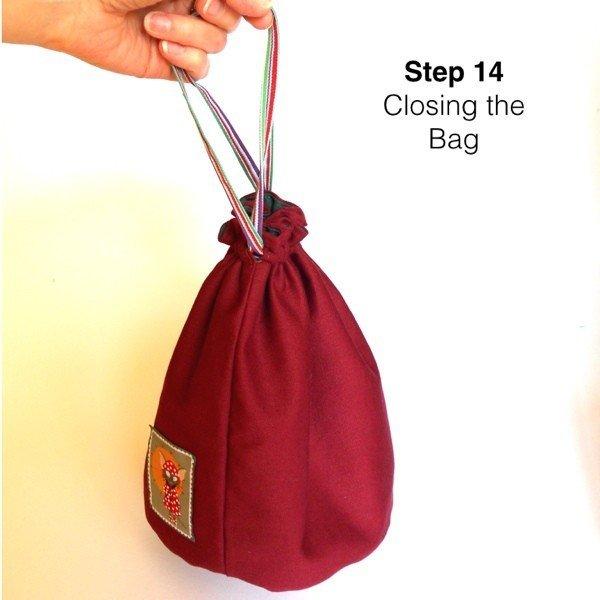 Finished drawstring bag