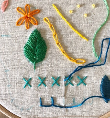 Modern embroidery sampler
