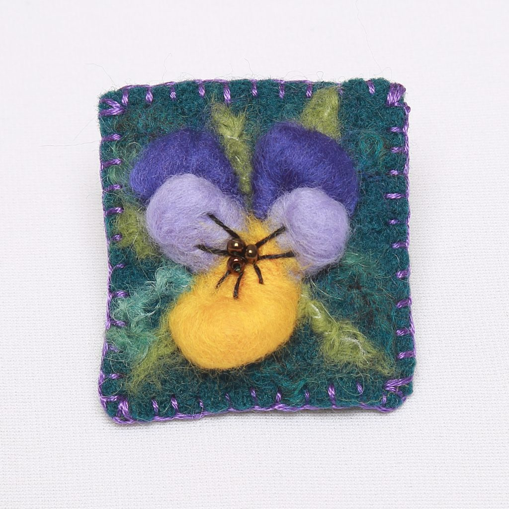 Beginner's needle felt brooch project
