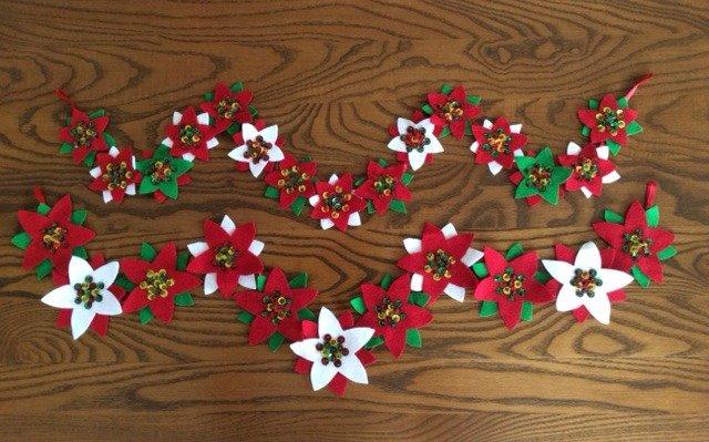 Felt floral garland for Christmas