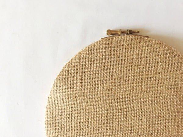 Hessian backed embroidery hoop