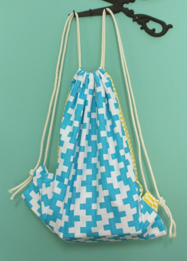 Reversible upcycled tea towel backpack project