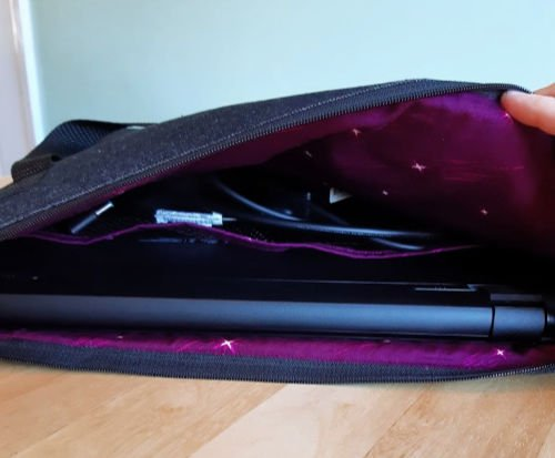 Inside of the padded laptop case
