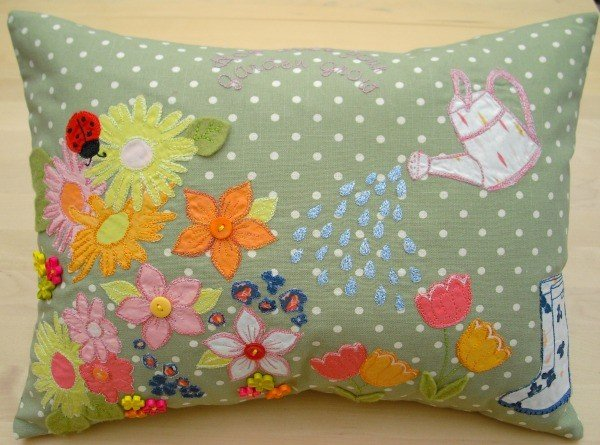 Stitch a garden applique cushion