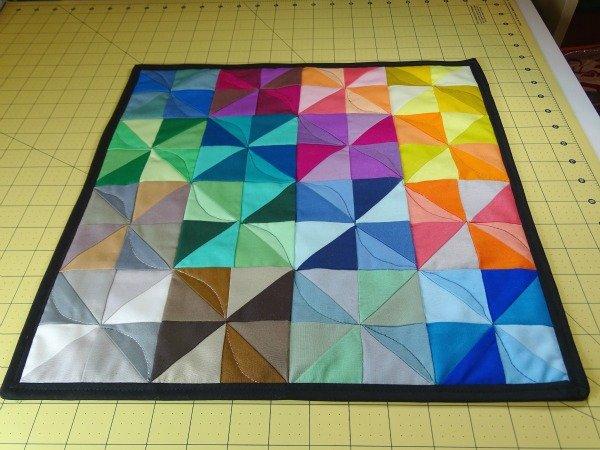 How to make a rainbow pinwheel mini quilt