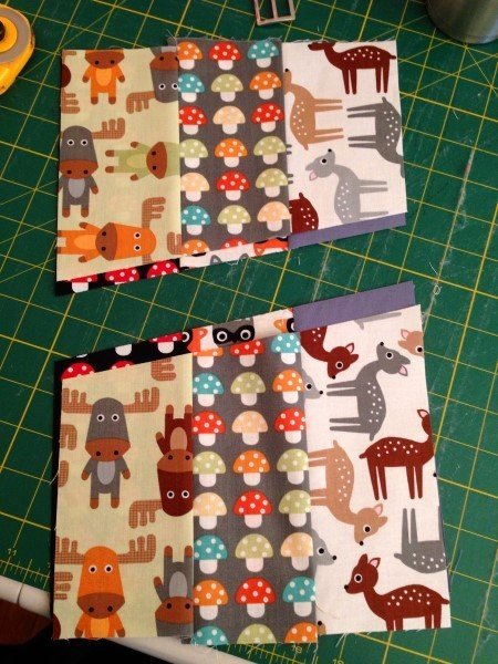 Sewing strips to make a bag