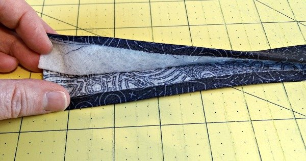 Bag strap sew with fusible fleece