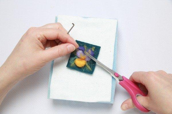 Trimming felt ends when needle felting